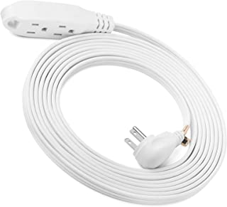 ClearMax 15 Feet 3 Outlet Extension Cord 16AWG Indoor/Outdoor Use - White - UL Listed