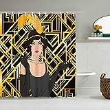 SUHOM Cortina de Ducha,Flapper Girl Set Retro Women of Twentiesgatsby Great Speakeasy 1920S Art Classic,Tejido de poliéster - con Gancho,180x180