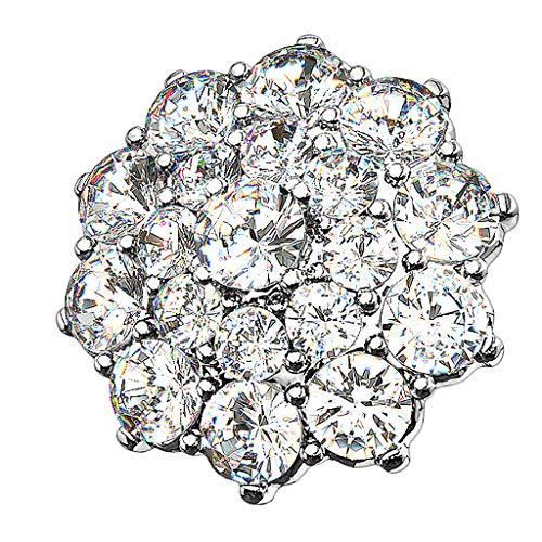 Piersando Aufsatz für Dermal Anchor Piercing Hautanker Implantat Skin Diver Strass Kristall Blume Silber