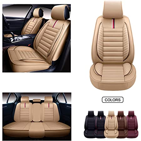 OASIS AUTO Leather Car Seat Covers Faux Leatherette Automotive Vehicle Cushion Cover for Cars SUV Pick-up Truck Universal Fit Set for Auto Interior Accessories OS-012 Front Pairs, Black
