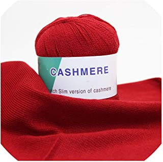 300g/lot Soft Smooth Natural Cashmere Yarn Wool Thread for Hand Knitting Yarn Sweater Scarves DIY,M015 red Yarn