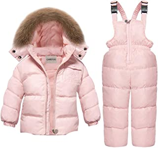 CARETOO Baby Boys Girls Winter Down Coats Snowsuit Outerwear 2Pcs Clothes Hooded Jacket Snow Ski Bib Pants Outfits Set