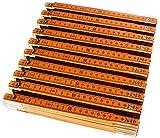 Zollstock Set 10 Stück zum Bestpreis. 10er Meterstab Set aus Buchenholz mit 2m länge, Lackierung Orange, Skala oben in MM. Made in Germany