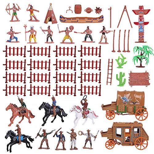 TOYANDONA 43 Piezas de Vaqueros del Salvaje Oeste Y Figuras de Nativos Americanos Figuras de Plástico Soldados de Juguete para Niños Juego de Guerra Educativo Juguete