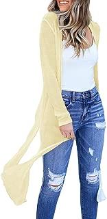Womens Long Sheer Cardigan Summer Lightweight Open Front Draped Kimono Loose Knit Duster Coat