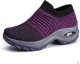 Womens Nurse Shoes Walking Sock Sneakers Knit Platform Air Cushion Slip On Fitness Sneaker Work Shoes