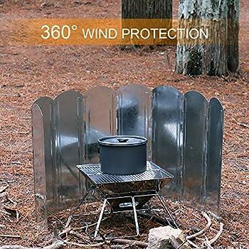 Lixada Pare-Vent Pliable, 8 Assiettes Pare-Vent de Camping Portable réchaud de Camping avec Sac de Transport pour Camping