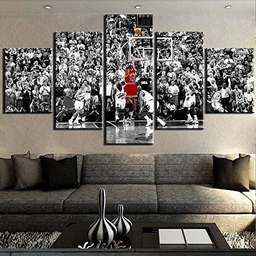 Gmoope 5 Piezas De Murales, Cuadros De Lienzo, Pinturas Al Óleo, Impresiones, Decoración De Lienzo, Arte De La Pared del Hogarjuego De Baloncesto Kerr Jordan