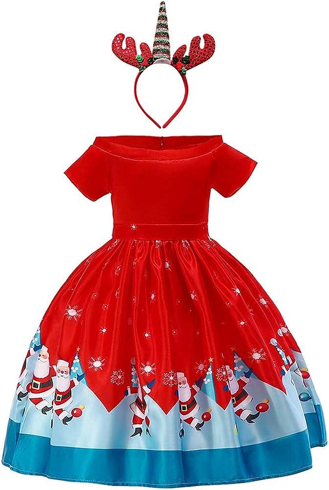 OBEEII Niñas Vestido de Navidad Traje Christmas con Diadema de Reno Disfrace Xmas Fiesta Halloween Carnaval Ceremonia Aniversario para Bebé 2-9 Años