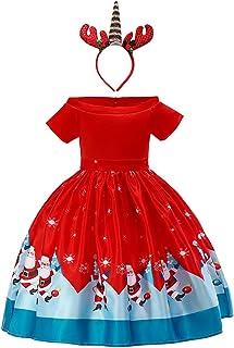 Weihnachten Mädchen Kinder Xmas Partyikleid Weihnachtskleid Tunika Minikleid DE