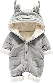 ALLAIBB Unisex Baby Winter Thick Warm Fleece Romper Deer Hooded Jumpsuit Outerwear