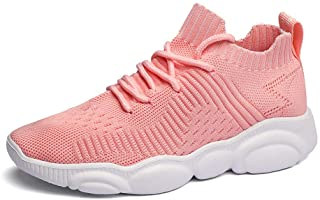 Kids Sport Shoes Boys Girls Running Tennis Athletic Children Walking Gym Sneakers Lightweight Mesh Pink 36