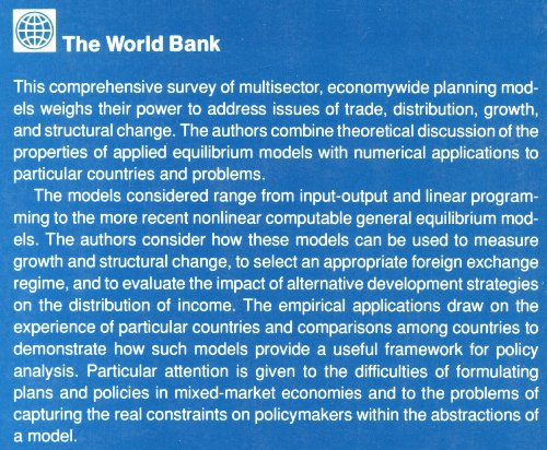 General Equilibrium Models for Development Policy