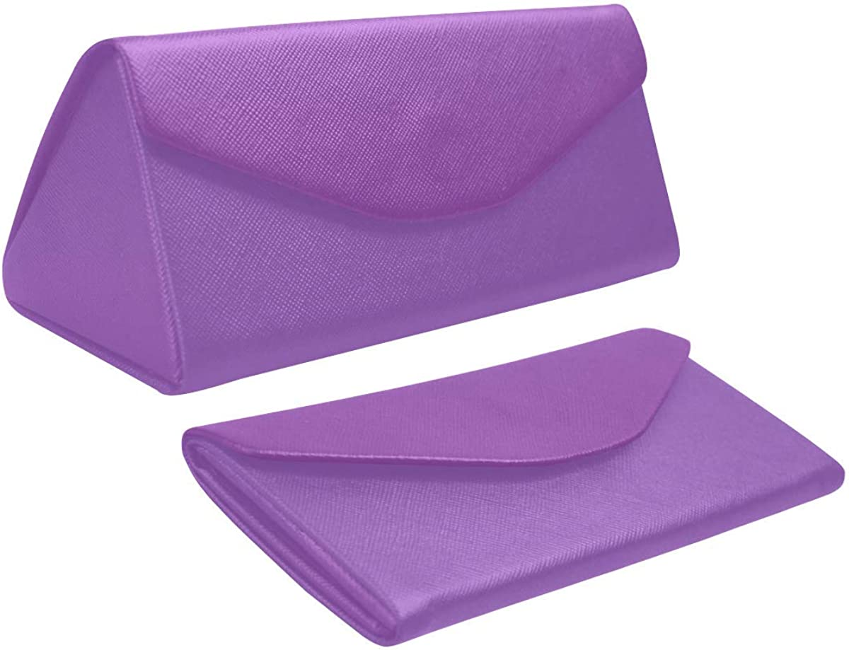 Glasses Case Modern Simple Purple Eyeglass Case Leather Magnetic Folding Hard Case Sunglasses Eyewear Protective Case