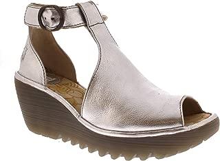 Womens YOLA Idra Platform Leather Peep Toe Wedge Heel Sandals