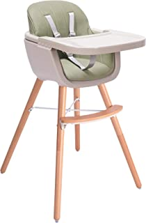Baby High Chair, Wooden High Chair with Removable Tray and Adjustable Legs for Baby/Infants/Toddlers (Green)