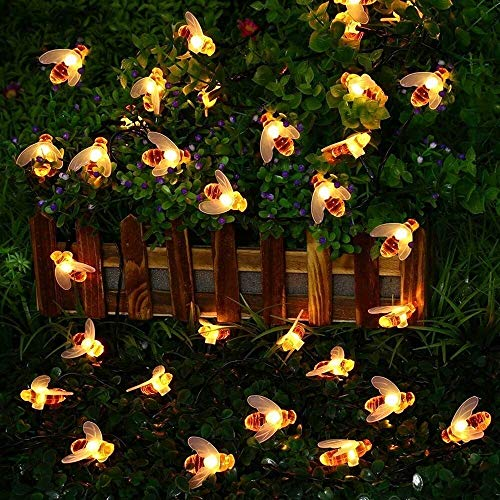 Cadena de luces solares para exteriores de abejas, 30 luces LED impermeables de hadas, luces decorativas para jardín, fiesta de Navidad al aire libre, boda (Color : Warmweiß)