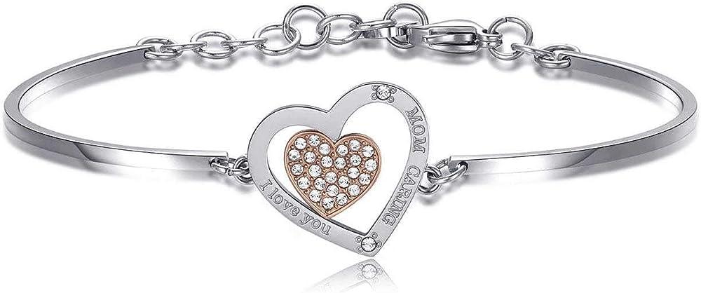 Brosway bracciale per donna in acciaio con cuore grande e cuore piccolo in pvd oro rosa e cristalli swaronsky BHK437
