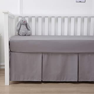 Belsden Crib Skirt with Durable Woven Platform for Boy and Girl, Front Side Pleated, Split Corners Dust Ruffle for Easy Placement Inside of Standard Crib, 14 inches (36cm) Length Drop, Grey Color