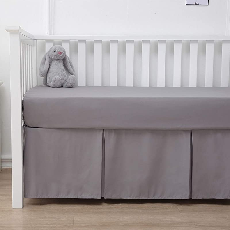 Belsden Crib Skirt With Durable Woven Platform For Boy And Girl Front Side Pleated Split Corners Dust Ruffle For Easy Placement Inside Of Standard Crib 14 Inches 36cm Length Drop Grey Color