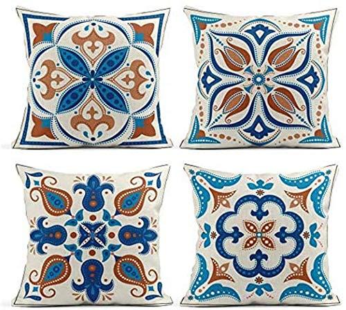 Funda de almohada Juego de 4 fundas de cojín Lino Vintage Azulejos ornamentales Azulejos decorativos Azulejos antiguos Arabesco Azul Funda de cerámica Fundas de almohada Cuadrado Suave decoración del