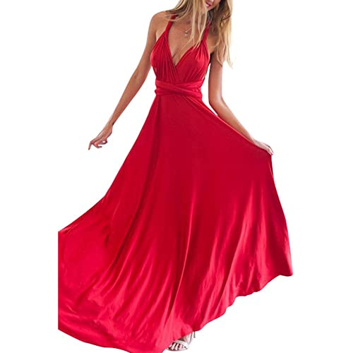 f6eb87bd33eb18 Lover-Beauty Kleider Damen V-Ausschnitt Rückenfrei Neckholder Abendkleider  Elegant Cocktailkleid Multi-Way