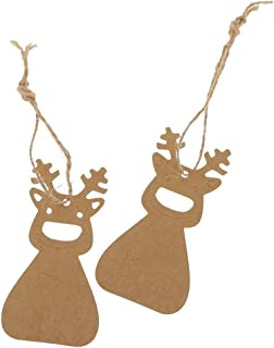 Christmas Hanging Tag With 10M Hemp Rope Kraft Paper Decor Present Gift Labels Deer Pattern,Pack Of 100 (Brown)