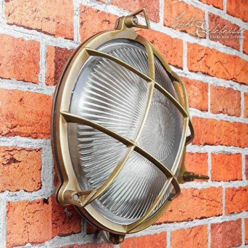 *Wandlampe Außen Antik Echt-Messing Rostfrei E27 Riffelglas Käfigschirm IP64 Feuchtraumleuchte Außenleuchte Haus*
