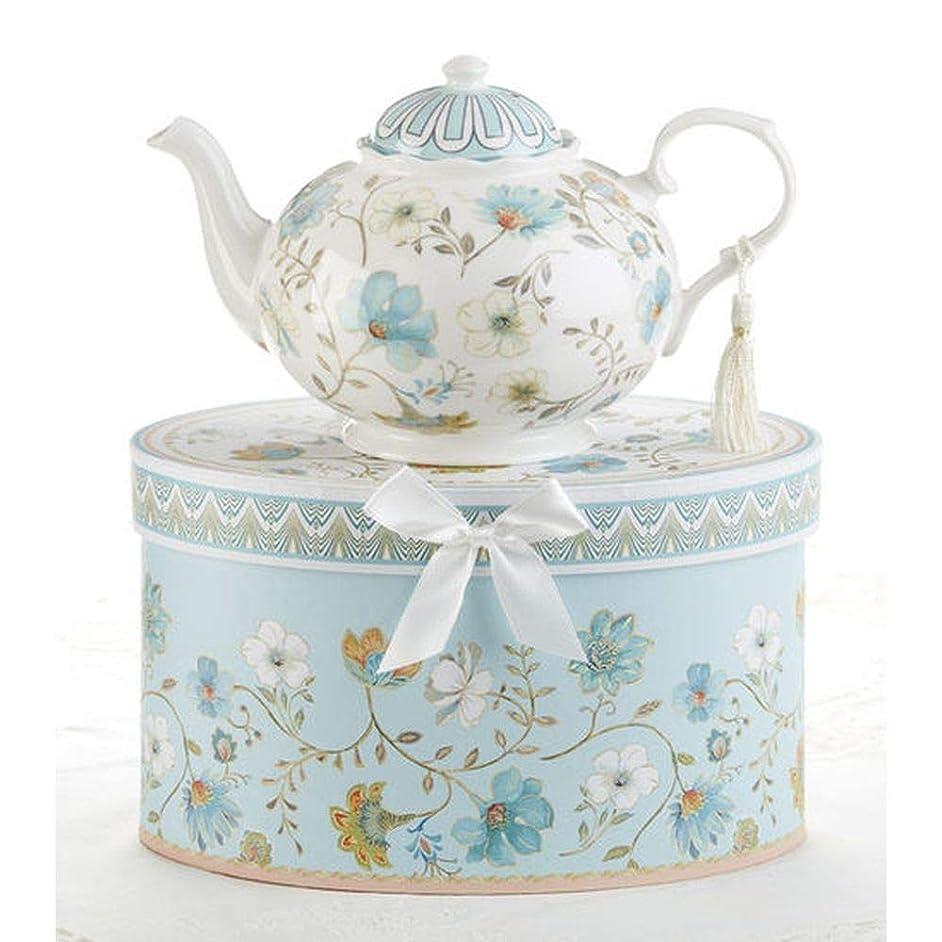 Delton 9.5 x 5.6 Inch Porcelain Tea Pot in Gift Box Blue Romance