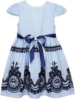 ドレス 丸衿 上品 通気 天然素材 幼児 子供 赤ちゃん衣装服 ストライプ ボタン パーティー ページェント プリンセス ドレス 卒園式 入園式 写真撮影 学園祭