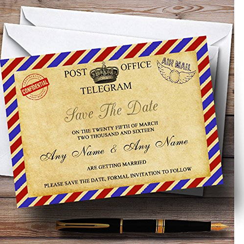 Vintage Airmail Telegram Postcard Personalized Wedding Save The Date Cards