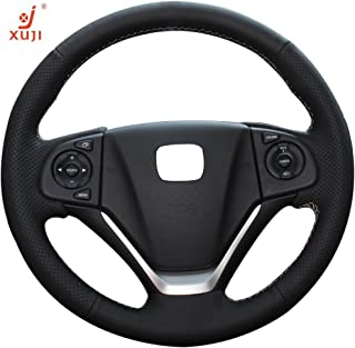 XuJi Honda CRV Steering Wheel Cover Wrap Hand Sewing Black Microfiber Leather for Honda CR-V 2012 /CR-V 2013 /CR-V 2014 /CR-V 2015