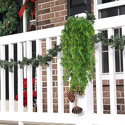 HUAESIN 2pcs Künstliche Hängepflanzen Lang Persischer Farn Kunstpflanze Hängend Plastikpflanzen Künstliche Pflanze Efeu Groß Grünpflanzen für Innen Außen Balkon Wand Topf Garten Deko 115cm - 4