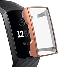 XIHAMA Case for Fitbit Charge 3,TPU Plated Screen Protector Full Around Cover Bumper Shell (rose gold)
