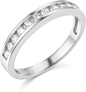 TWJC 14k Yellow OR White Gold Solid Channel Set Wedding Band