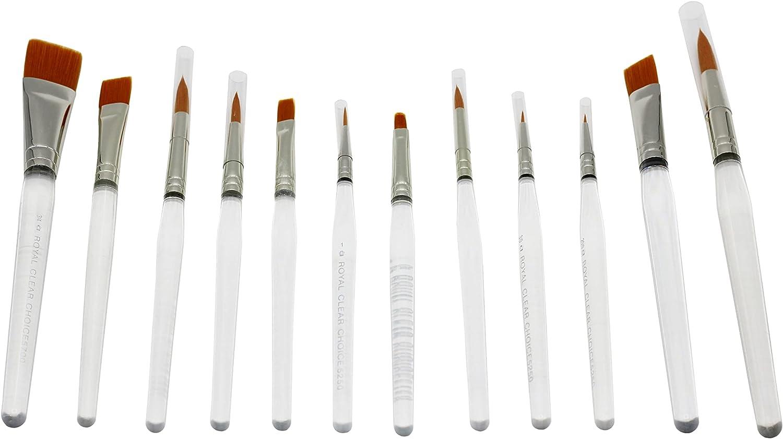 12 Gold 5 popular Taklon Clear Acrylic Handle Art Hobby Latest item Brus Craft Paint