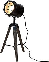 Stehlampe Scheinwerfer Dreibein Eiche Vintage Landhaus Industrial Design Wohnzimmer Antik e27 Fassung Stehleuchte Retro Holz metall in Schwarz abbey