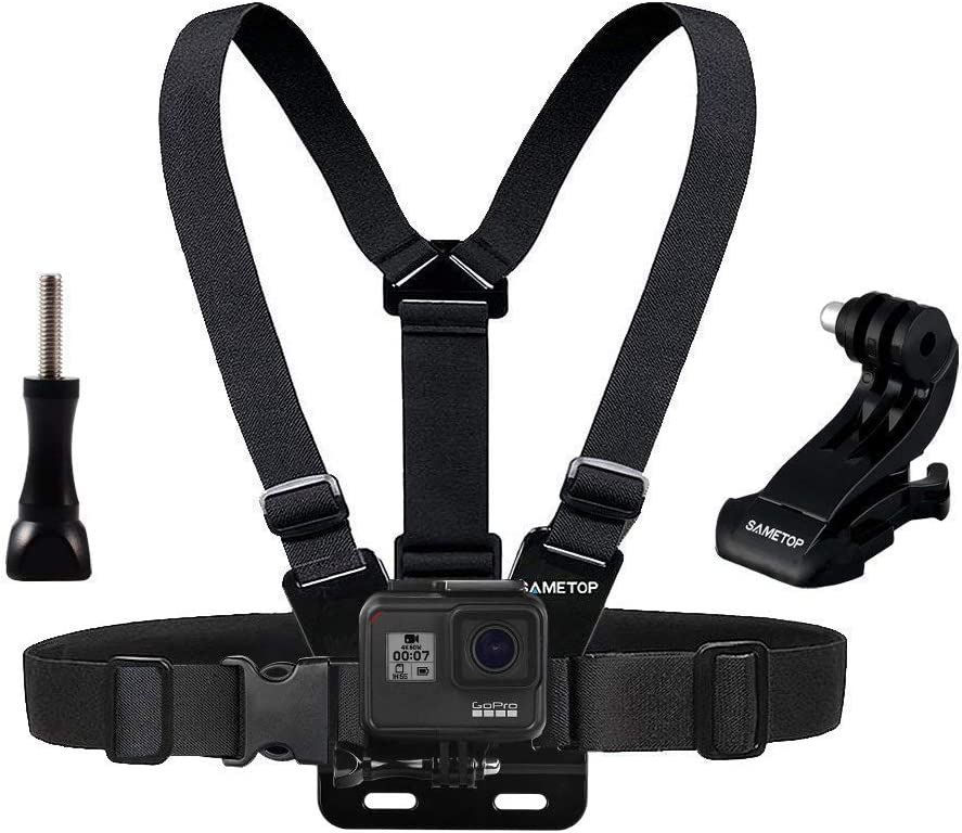 Sametop Chest Mount Harness Chesty Strap Compatible with GoPro Hero 9 Black, 8 Black, Hero 7 Black, 7 Silver, 7 White, Hero 6, 5, 4, Session, 3+, 3, 2, 1, Hero (2018), Fusion, DJI Osmo Action Cameras