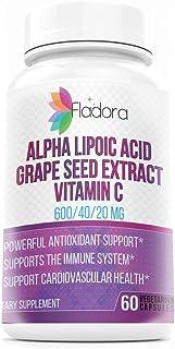 Fladora Alpha Lipoic Acid 600mg with Grape Seed Extract 40mg and Vitamin C 20mg (Antioxidant Supports Healthy Immune & Car...