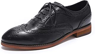 MIKCON Women Oxford Shoes Leather Floral Wingtip Lace up Saddle Brogue Flat Classic Shoes