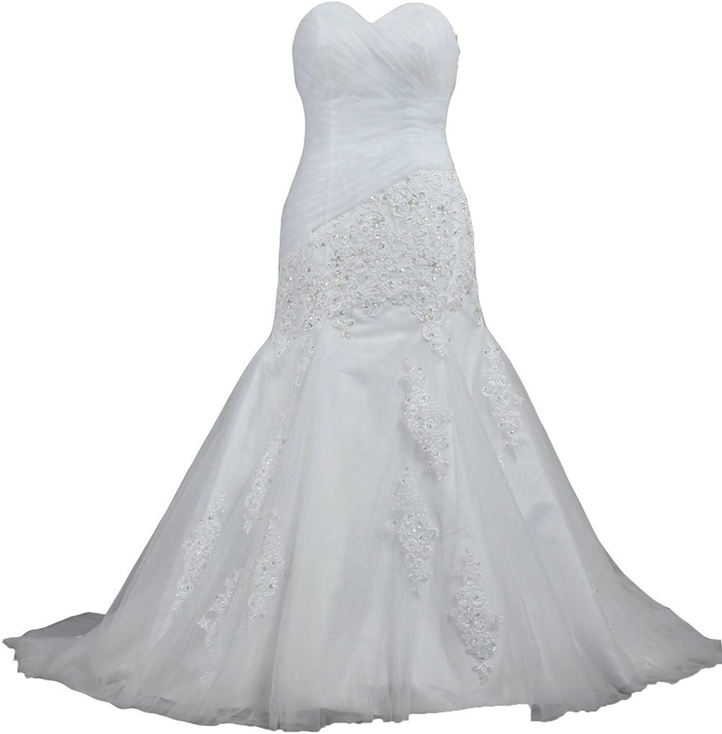 ANTS Sweetheart Organza Lace Tulle Mermaid Wedding Dresses for Bride