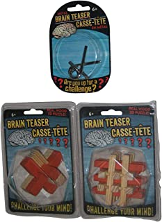 Greenbrier Brain Teaser Casse-Tete Real Wood Puzzle & Metal Toy Set - (3 Puzzles)