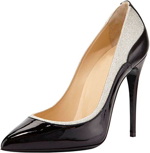 DYF Chaussures Femmes Talon Haut Extra Fines Bouche Peu Profonde Couleur Grand Format Bump,noir,42