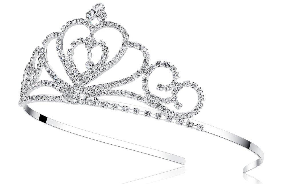 Lovelyshop Rhinestone Crystal Tiara-Wedding Bridal Prom Birthday Pegeant Prinecess Crown (Heart) : Beauty