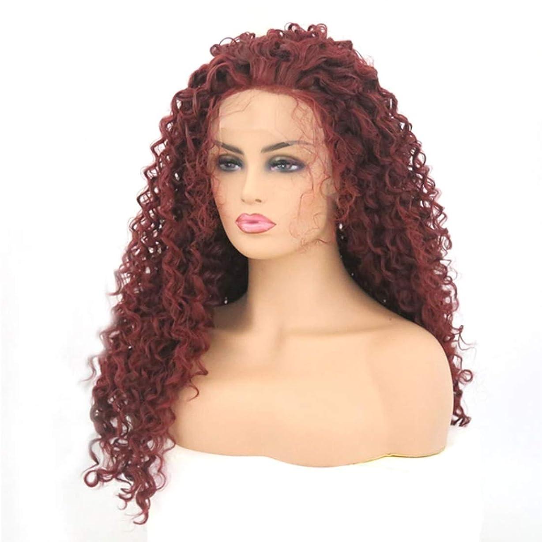 啓発するディレクトリ手順Summerys 本物の髪として自然な女性のためのフロントレースワインレッドカーリーヘアー合成カラフルなコスプレデイリーパーティーウィッグ