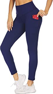 COOrun Women's High Waist Yoga Tights with Pockets Workout Pants Sports Running Athletic Leggings with Pocket (Navy,S)