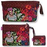 Bolso Aseo/Neceser Maquillaje Viaje/Set 3 Piezas Neceseres, sobre Cartera y Monedero de Mujer Frida Kahlo. (Marron)