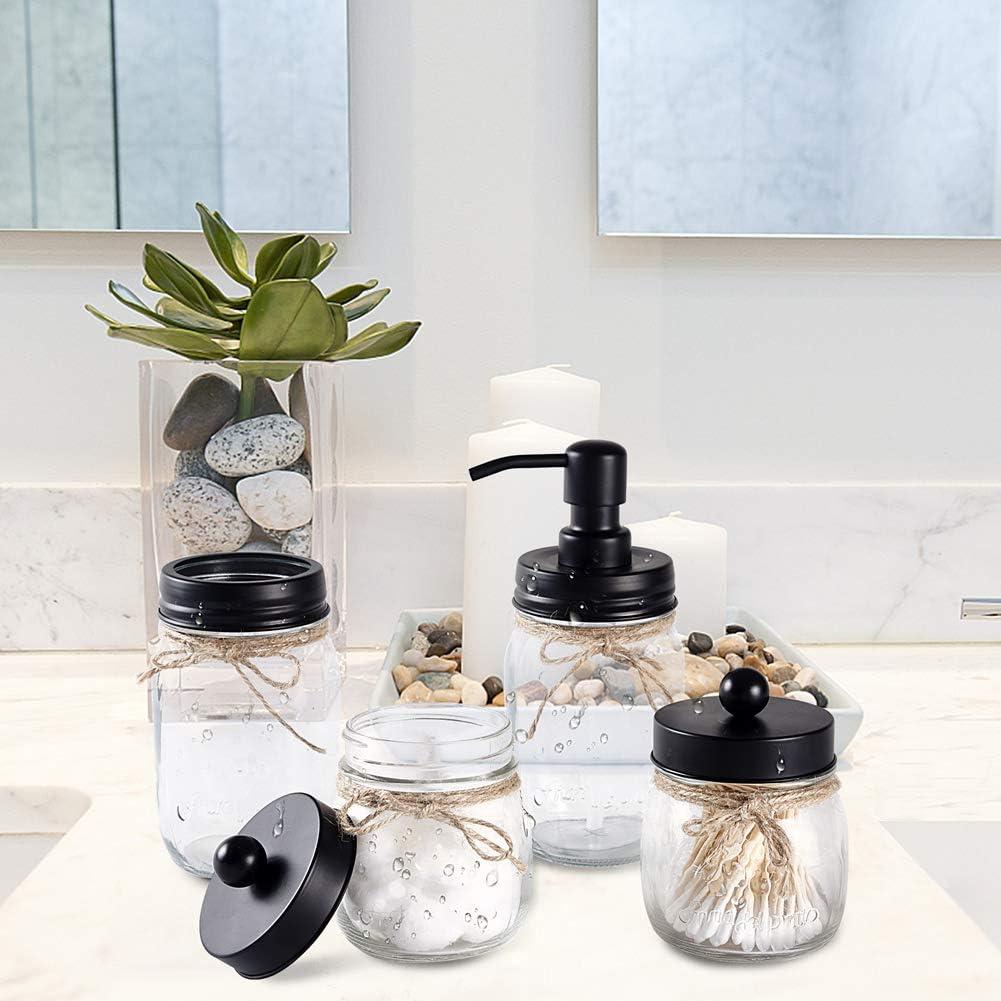 MARTHA/&IVAN Mason Jar Bathroom Accessories Set Mason Soap Dispenser Toothbrush Holder Set Farmhouse Bathroom Set Clear Black
