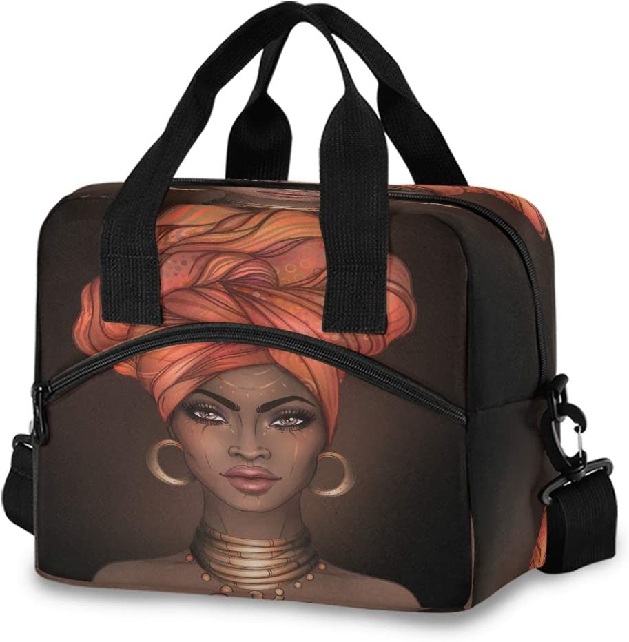 Insulated Cooler Lunch Bag African American Pretty Girl Woman Lunch Box for Office Work Picnic Hiking Beach Organizer with Adjustable Shoulder Strap