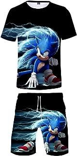 Silver Basic Niños Ropa Deportiva Chándal Sonic Camiseta y Pantalones Conjunto de Pijama de Verano Videojuego Sonic The He...